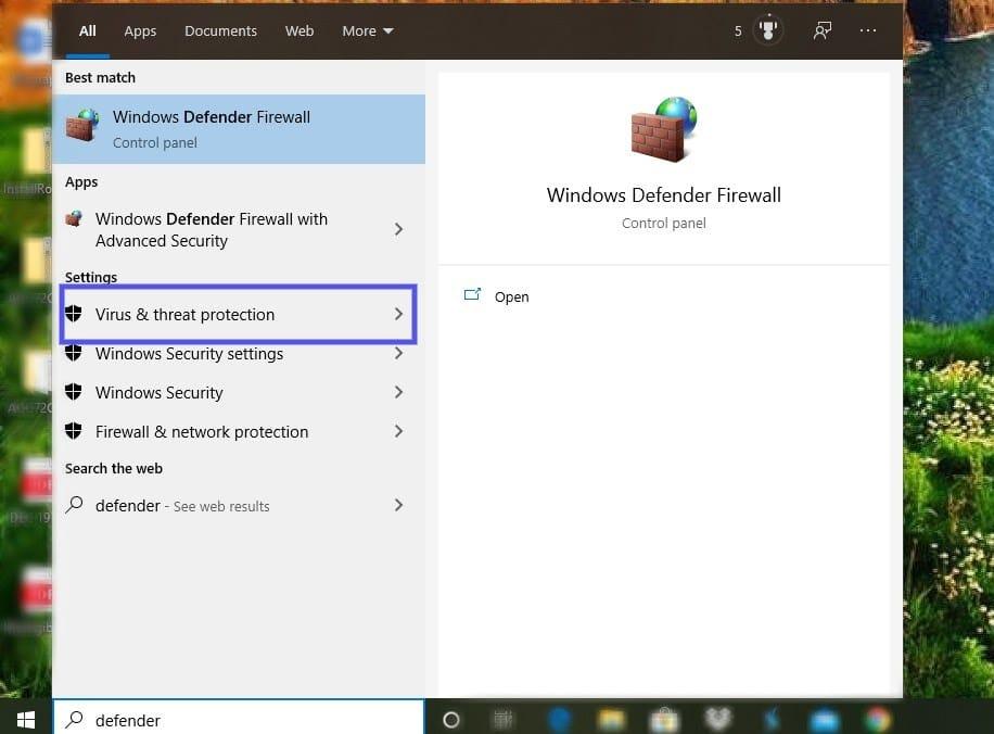 Configurações de proteção contra vírus e ameaças do Windows