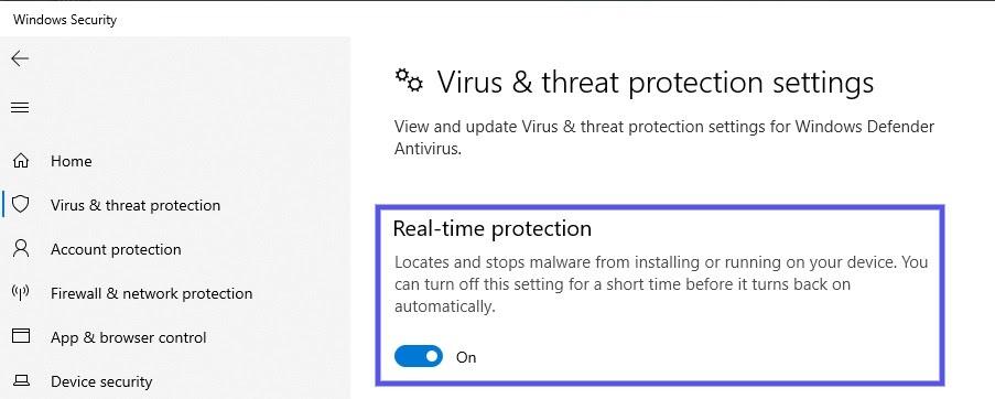 Configurações de proteção em tempo real no Windows
