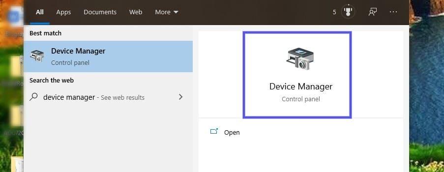 O painel de controle do Windows Device Manager