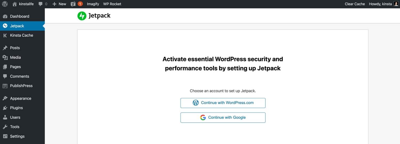 Acesse via WordPress.com ou Google para usar o Jetpack.