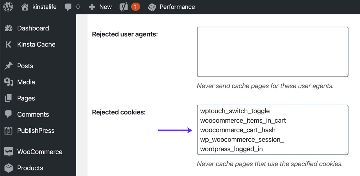 Bypass WooCommerce cookies em W3 Total Cache.