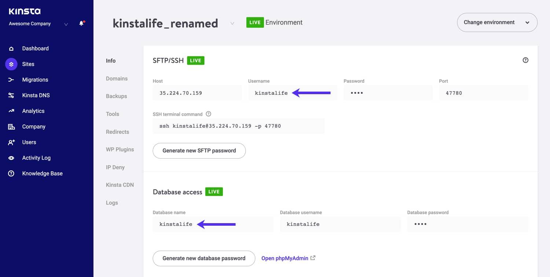 As credenciais SSH/SFTP e banco de dados não são alteradas.
