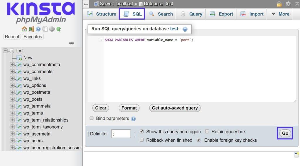 Como encontrar a porta MySQL no phpMyAdmin
