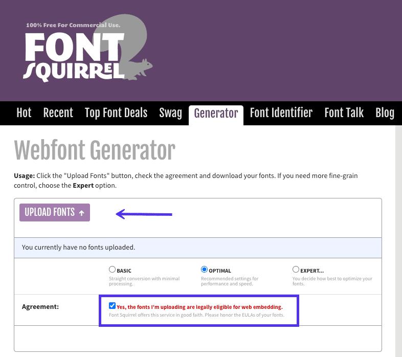 Transformar quaisquer fontes em fontes seguras para a web
