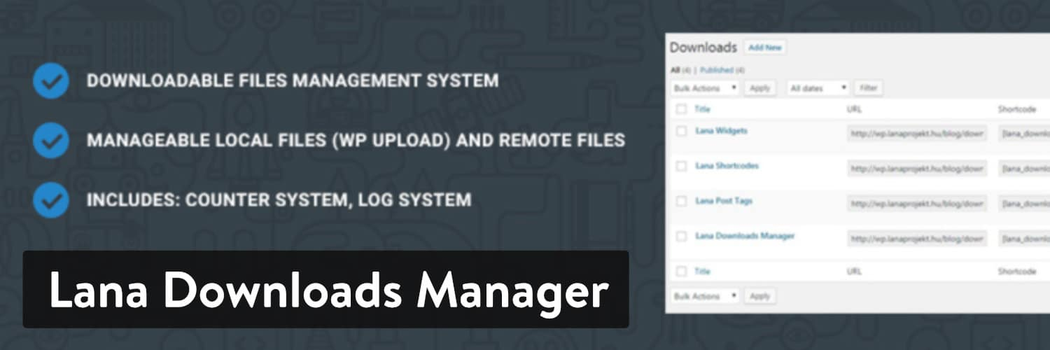 Lana Downloads Manager plugin