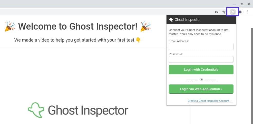 Login para a extensão Ghost Inspector Chrome