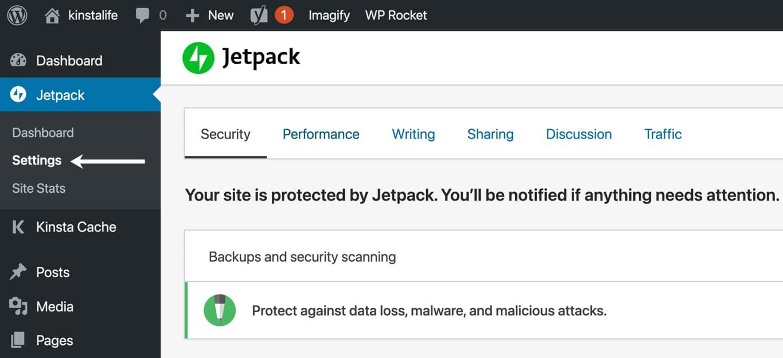 A página de ajustes do Jetpack está dividida em seis abas.