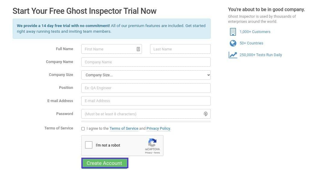 A página de inscrição do Ghost Inspector