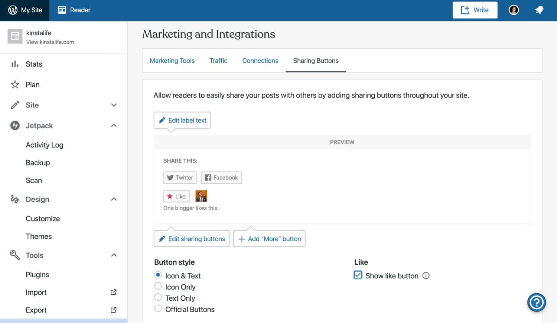 Personalizar os botões de compartilhamento social Jetpack.