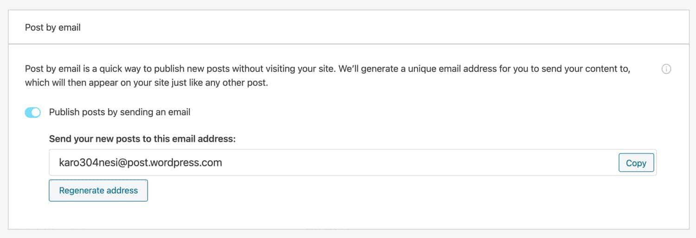 Postar por e-mail no Jetpack.