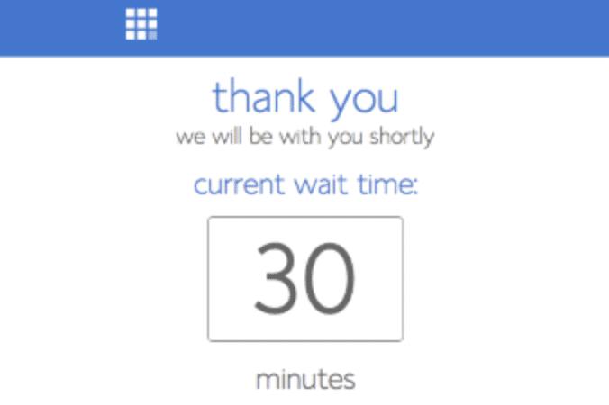 Um tempo de espera de 30 minutos para o apoio da Bluehost.