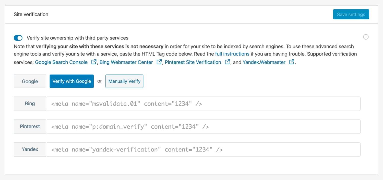 Verifique seu site com os motores de busca com Jetpack.