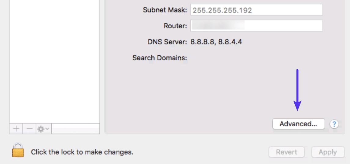O botão Avançado na janela do Sistema de Rede Mac