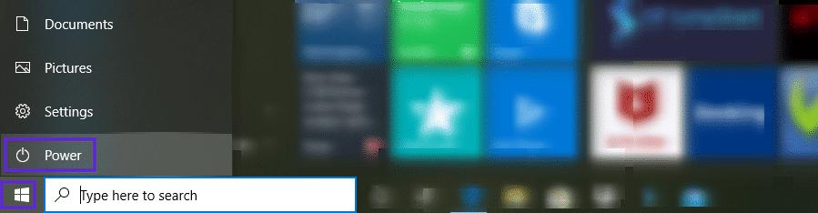 O botão de energia no Windows