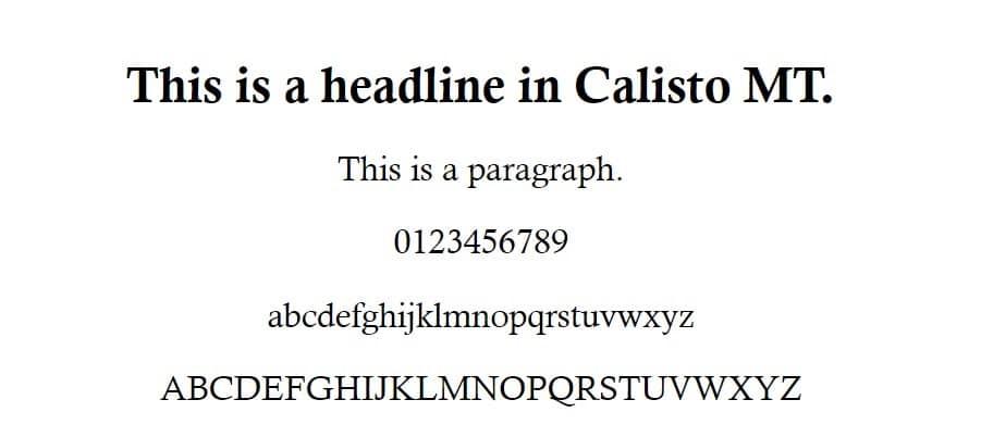 Exemplo de fonte Calisto MT
