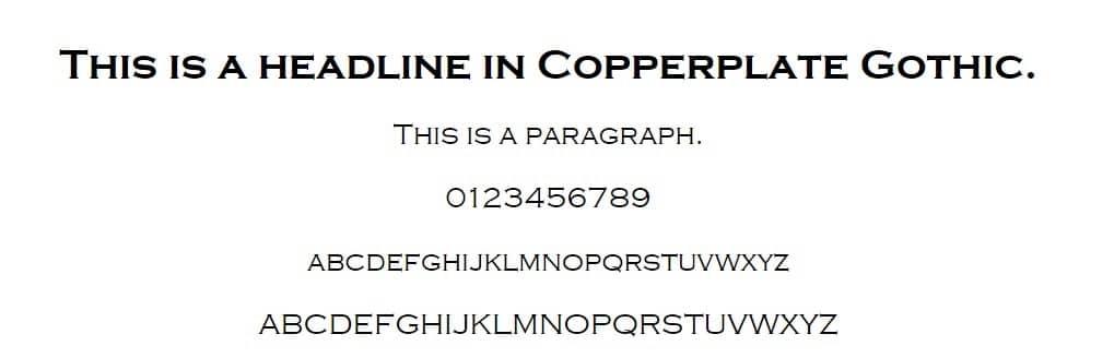 Exemplo de fonte Copperplate Gothic