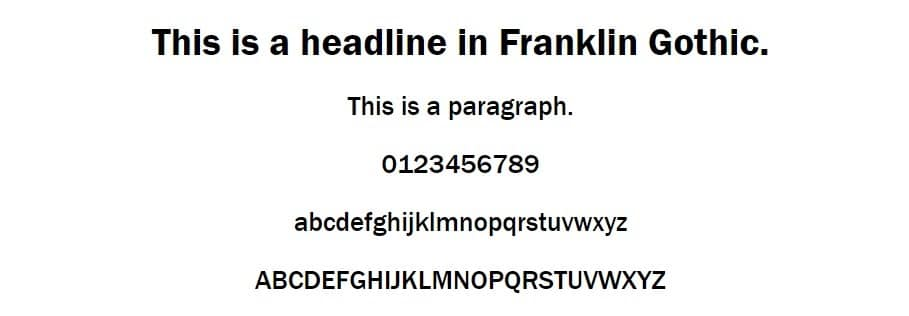 Exemplo da fonte Franklin Gothic