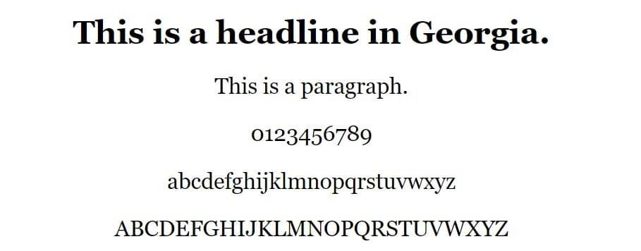 Exemplo de fonte da Geórgia