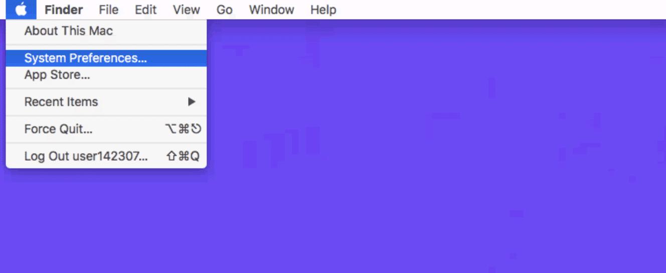O item do menu System Preferences no Mac