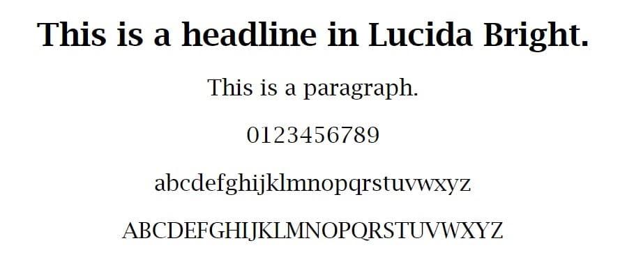 Exemplo de fonte Lucida Bright