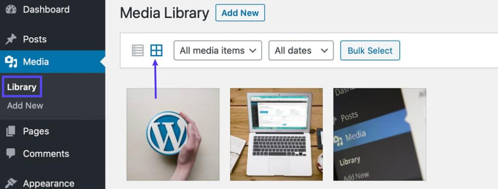 Por padrão, a Biblioteca de Mídia está em visualização em grade.