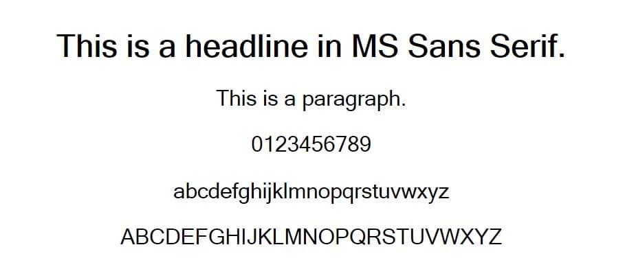Exemplo de fonte Microsoft Sans Serif