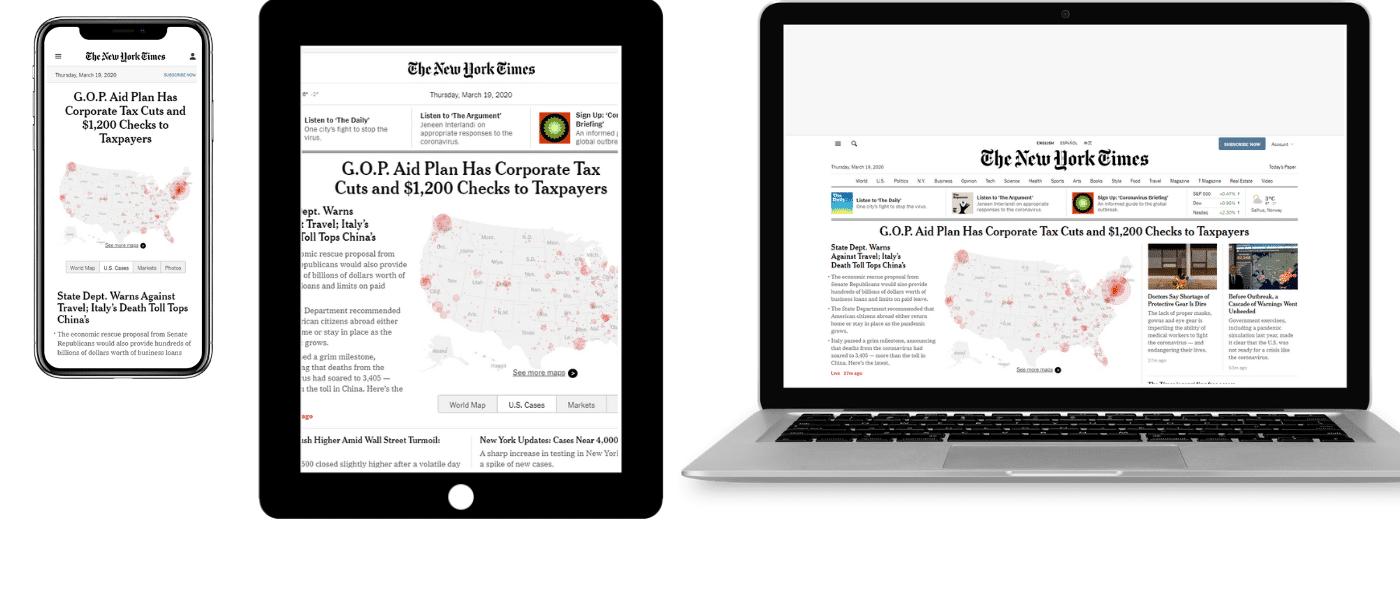 NYT no celular, tablet e laptop