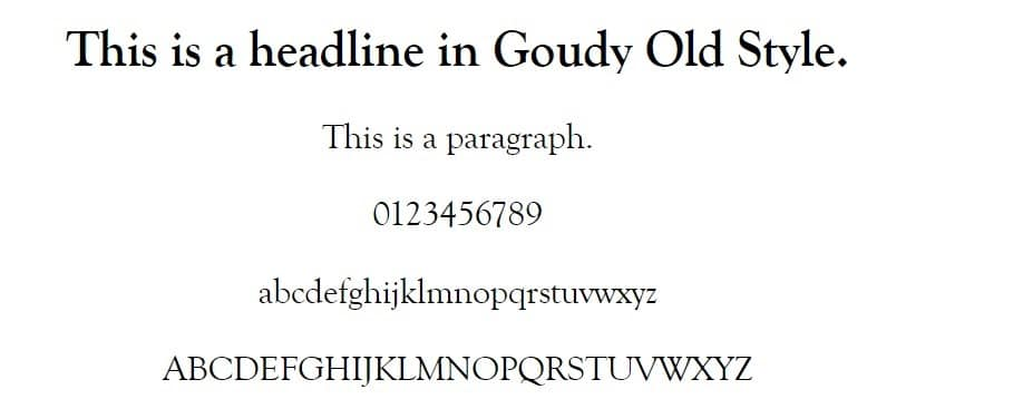 Exemplo de fonte Goudy Old Style