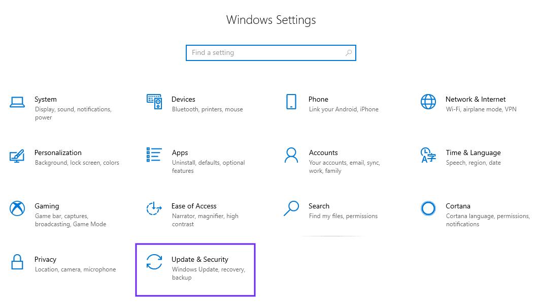 A opção Update & Security nas configurações do Windows