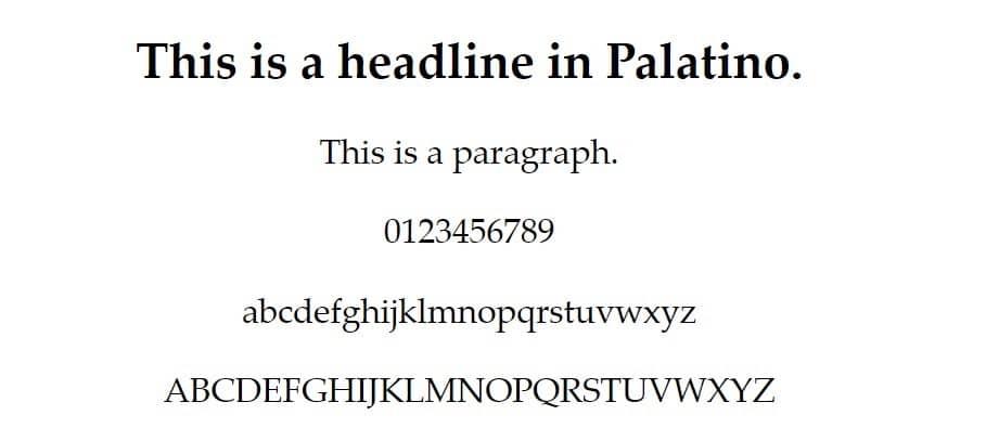 Exemplo de fonte Palatino