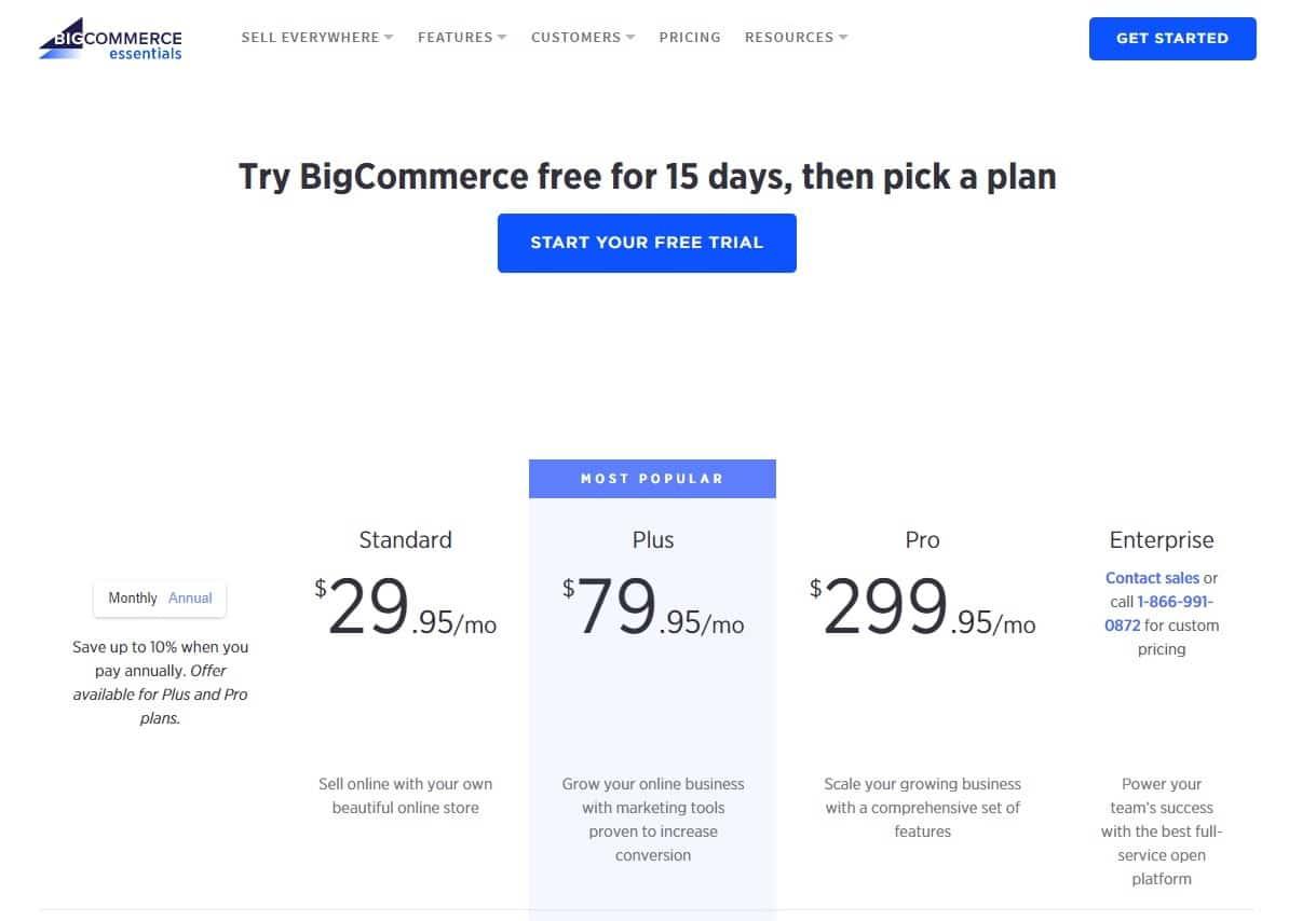 Preços do BigCommerce
