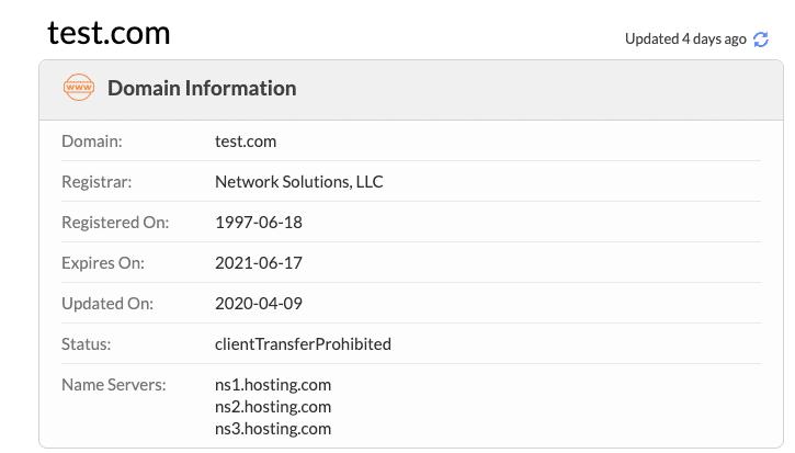 Verifique qual servidor de nomes seu site está usando com Whois.