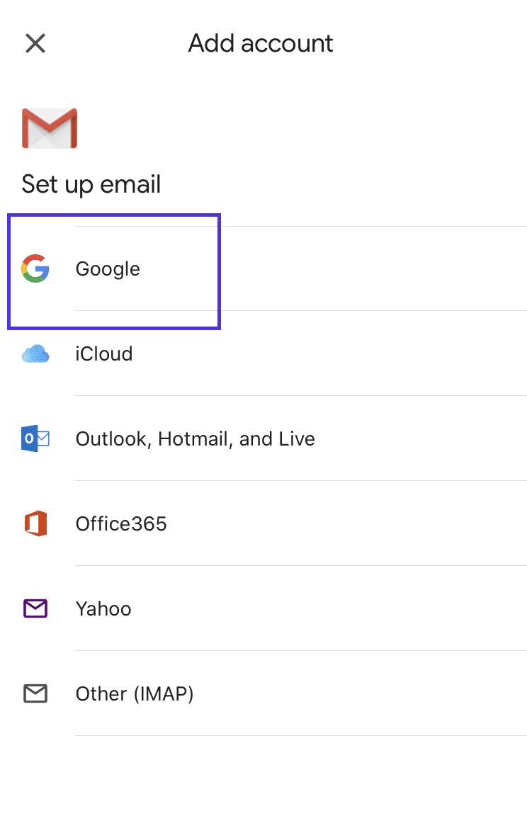 Adicionando endereço Gmail ao dispositivo iOS