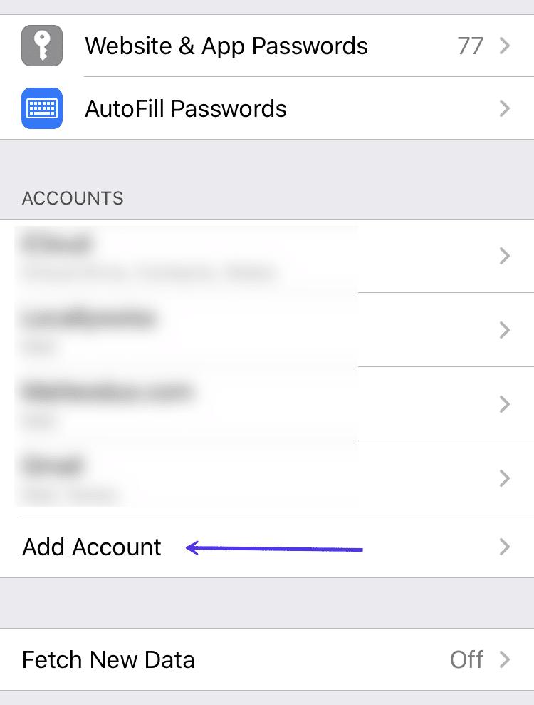Adicionando uma nova conta (iOS)