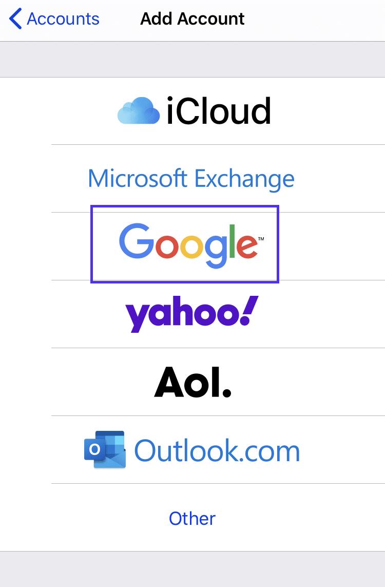 Adicionando uma nova conta Google no iOS