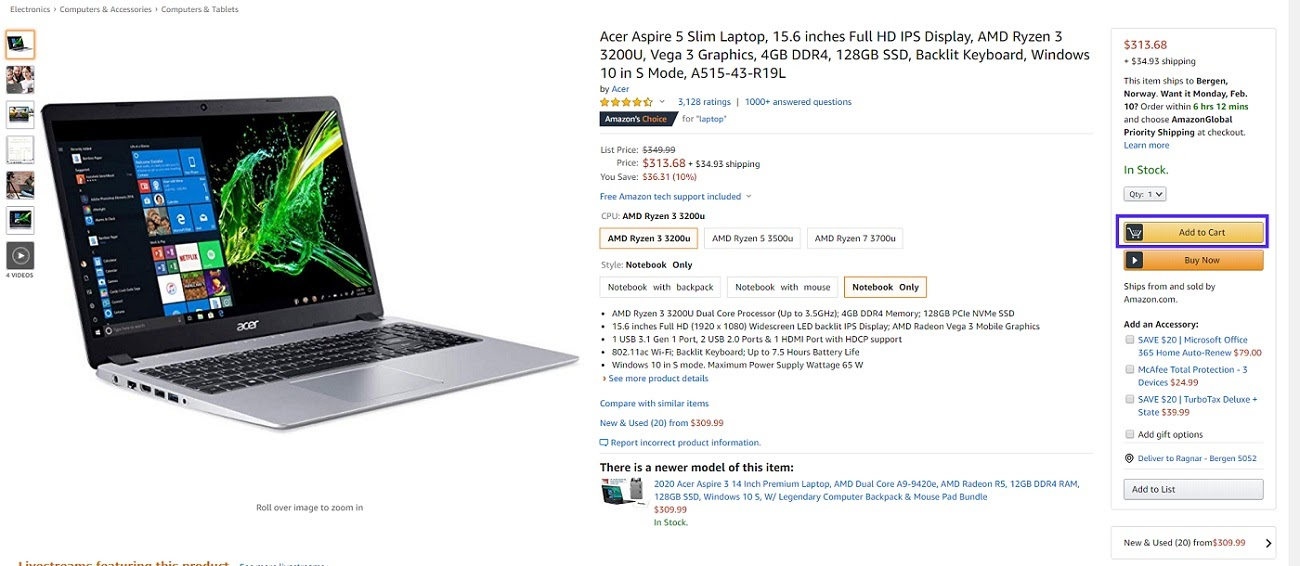 Amazon adicionar ao carrinho