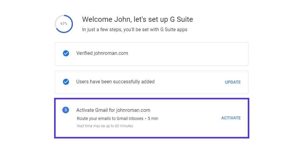 Ativando o Gmail