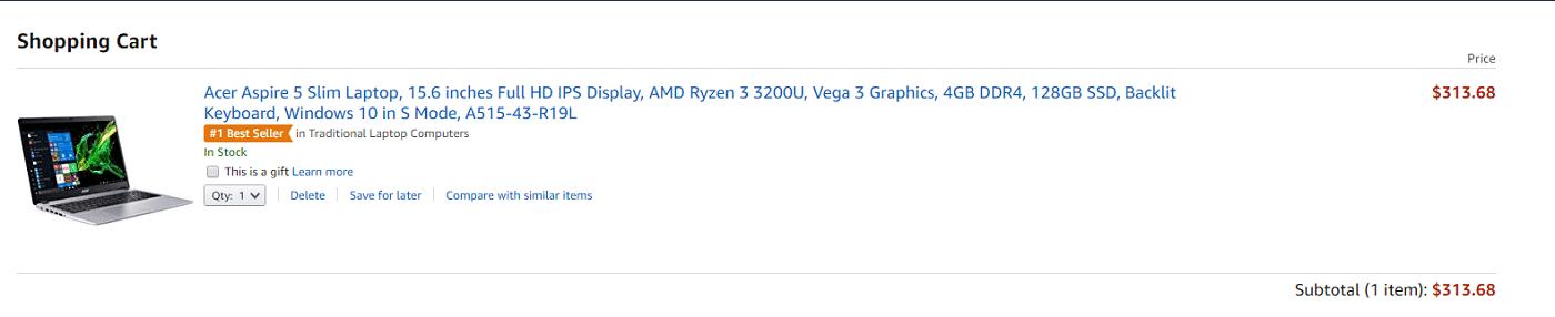 Carrinho de compras da Amazon