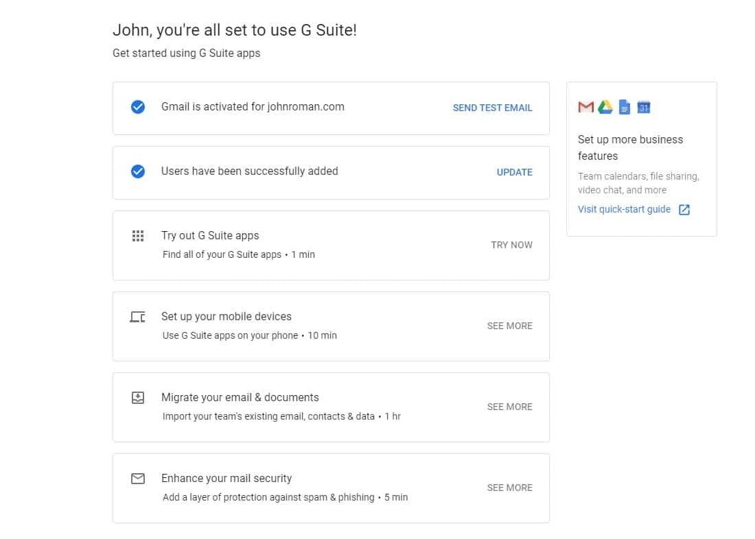 E-mail comercial da G Suite finalizado