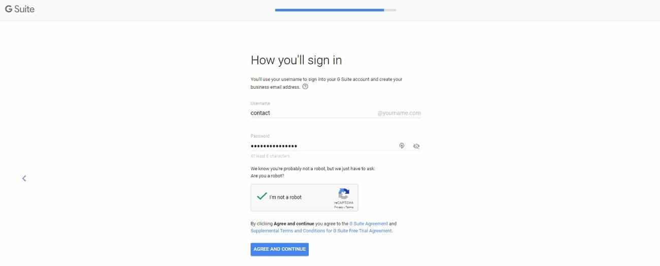 G Suite novo endereço de e-mail criado
