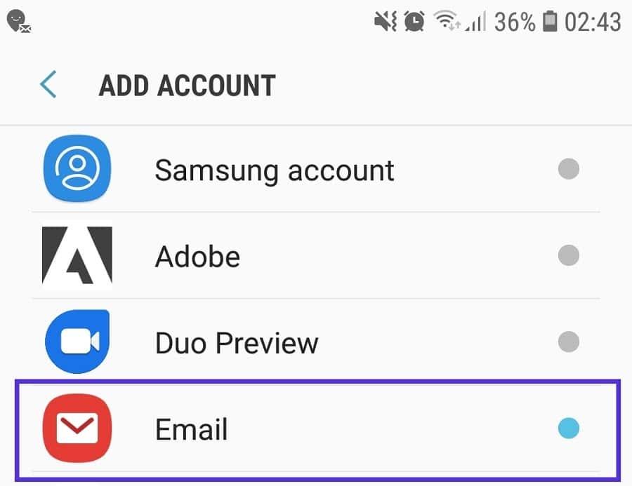 Samsung Email - adicionar conta