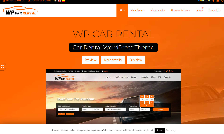 WP Car Rental skärmdump