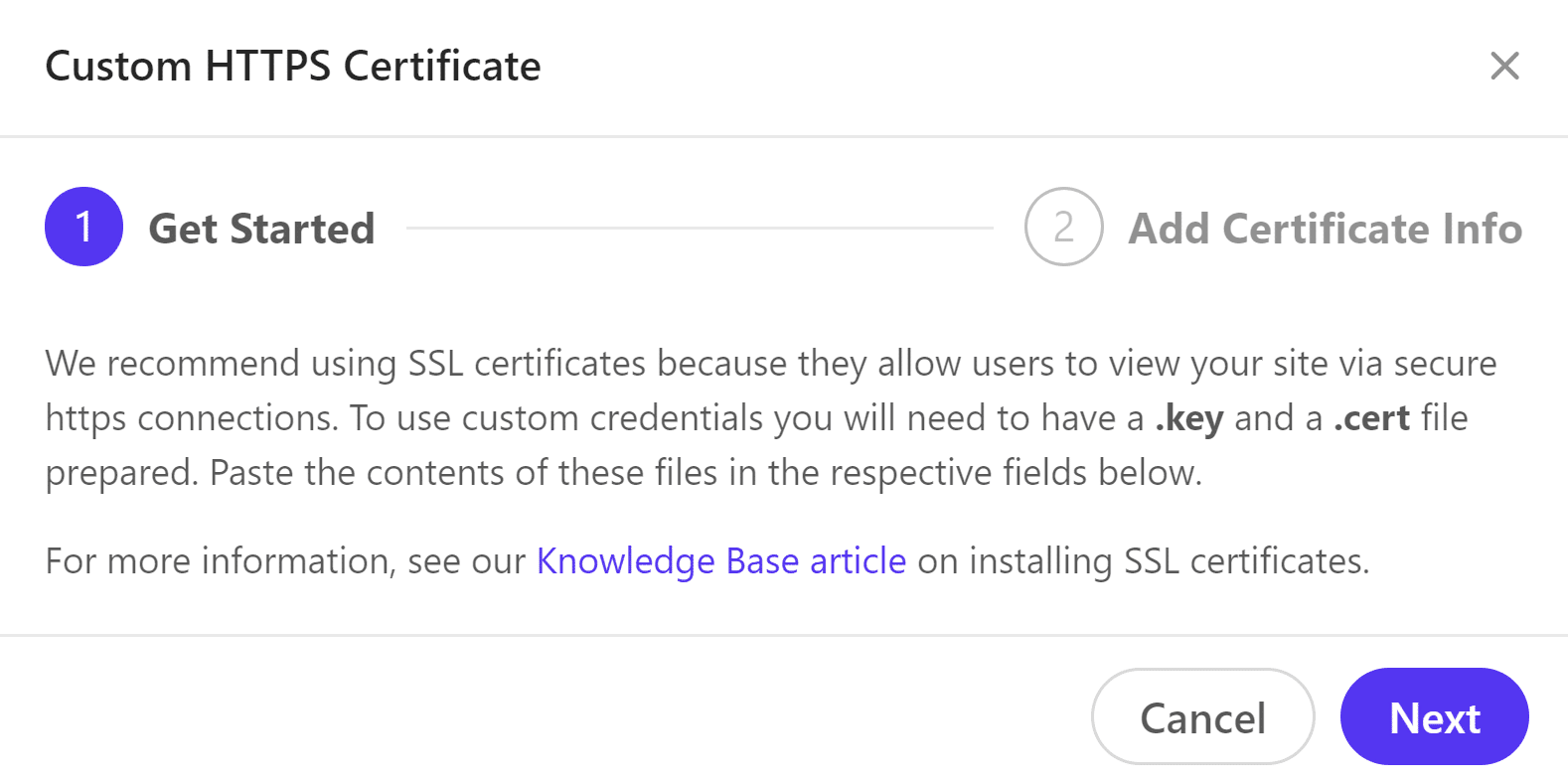 Anpassade HTTPS-autentiseringsuppgifter