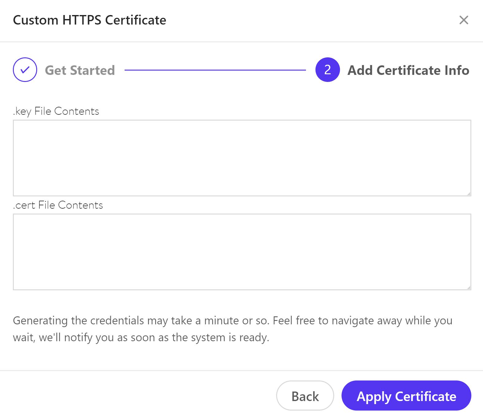 Använd certifikat