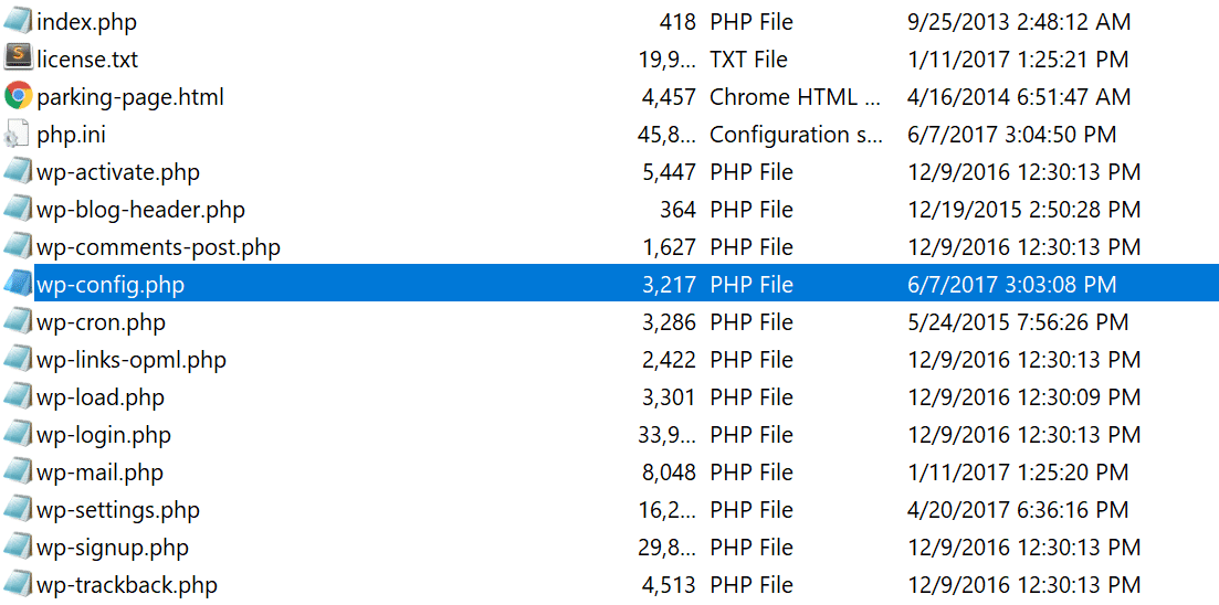 wp-config.php-fil