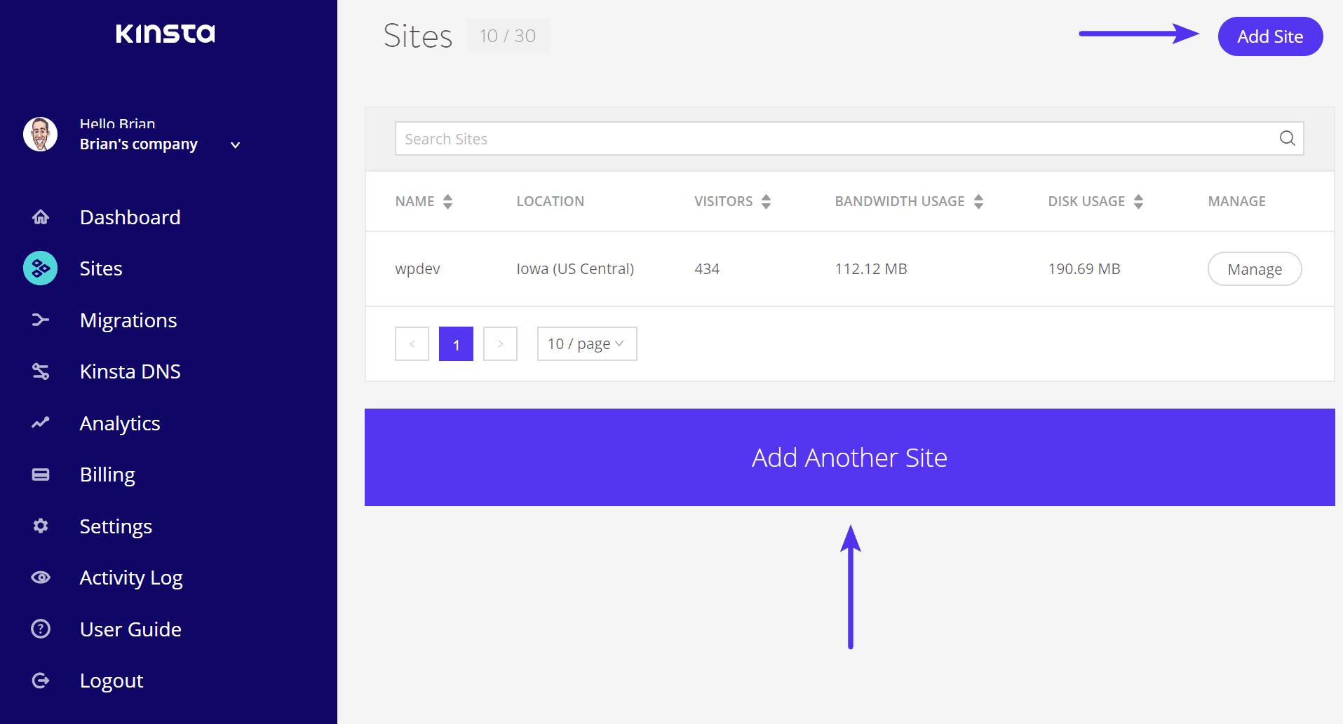Lägg till ny WordPress-webbplats på Kinsta