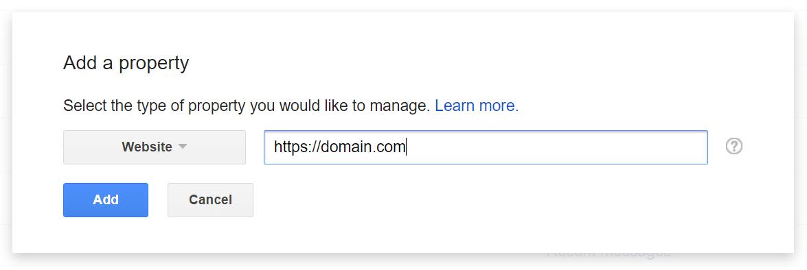 Lägg till HTTPS egendom i GSC