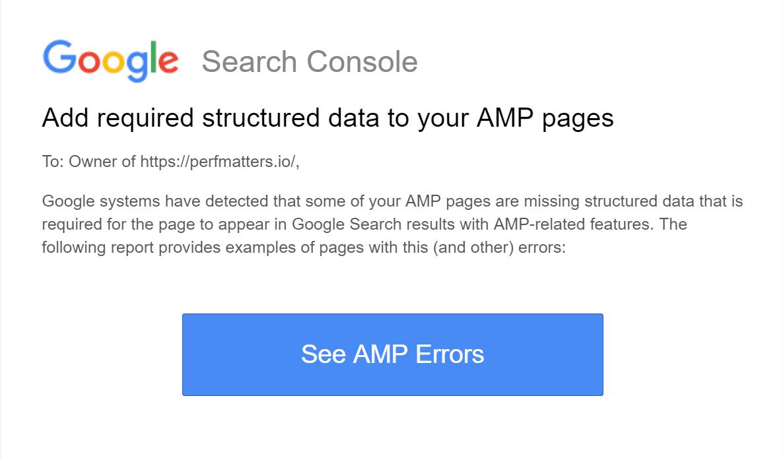 amp Fel google search console