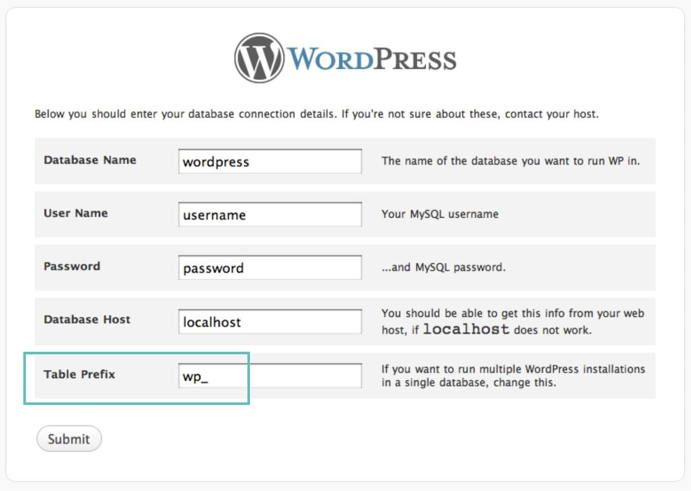 wordpress tableprefix