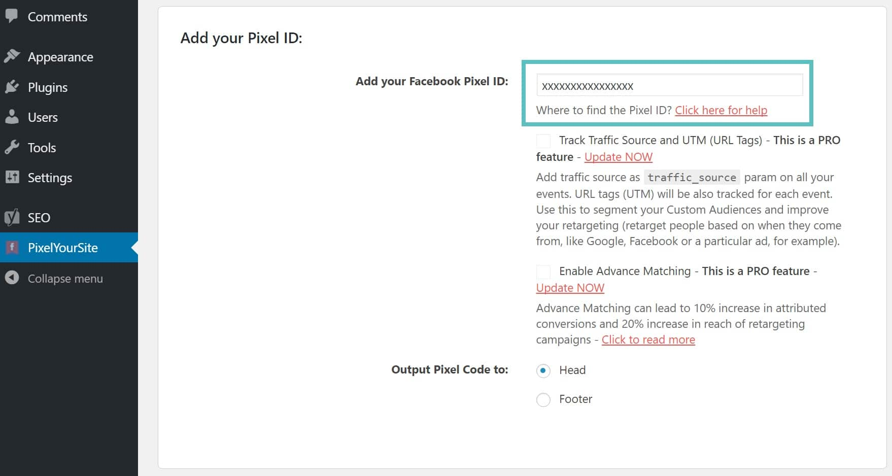 add facebook pixel id wordpress